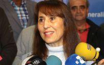 Carolina Roser, miembro del comité de huelga de MC, durante su comparecencia ante los medios de comunicación.