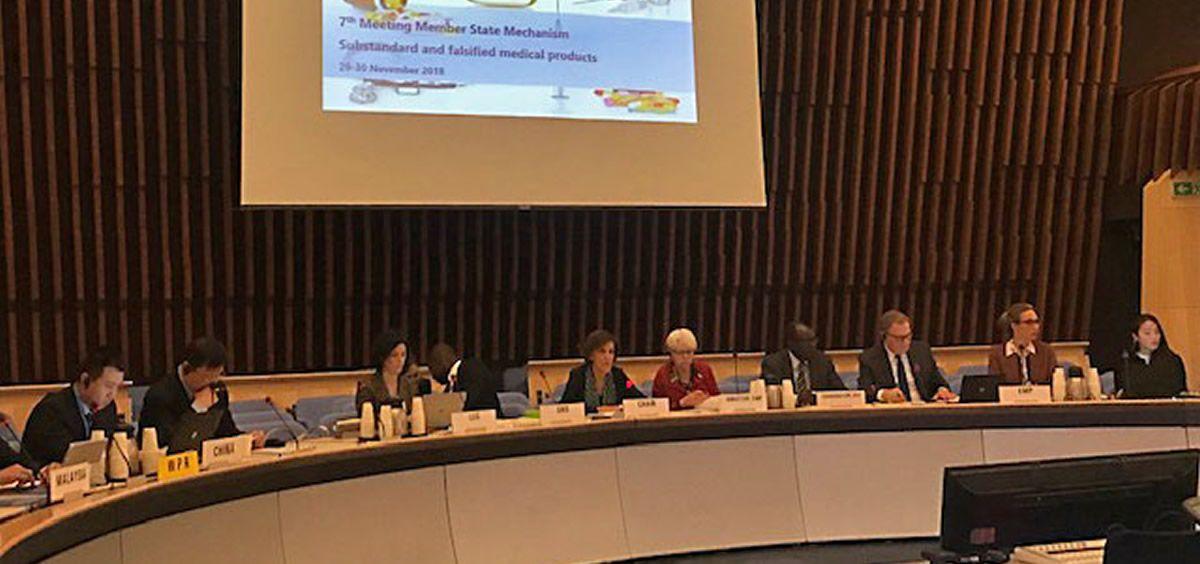 Belén Escribano, jefe del Departamento de Inspección y Control de Medicamentos de la AEMPS, presidiendo la reunión de la OMS que se celebra en Ginebra.