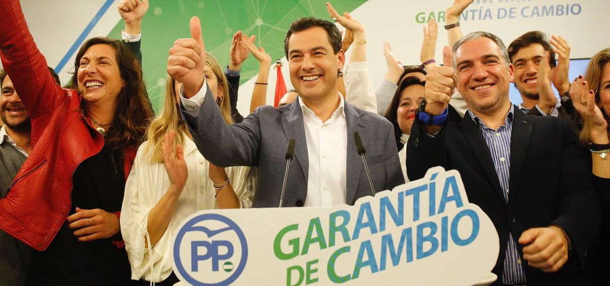 El candidato del PP andaluz, Juanma Moreno, ayer durante su discurso de balance sobre los resultados electorales.