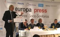 El consejero de Sanidad de la Comunidad de Madrid, Enrique Ruiz Escudero, interviniendo en los desayunos de Europa Press.