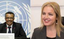 Los doctores Tedros Adhanom, presidente de la OMS, y Beatriz Domínguez-Gil, directora de la ONT