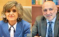 María Luisa Carcedo, ministra de Sanidad, y Rodrigo Gutiérrez, director general de Ordenación Profesional.