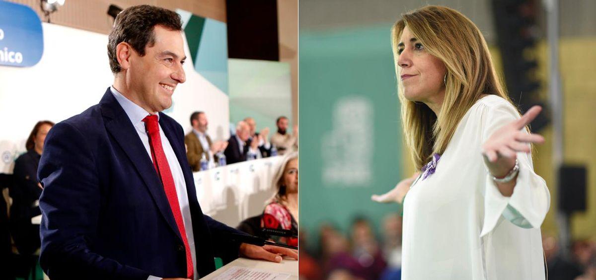 Juanma Moreno, presidente de la Junta de Andalucía, y Susana Díaz, líder del PSOE andaluz.