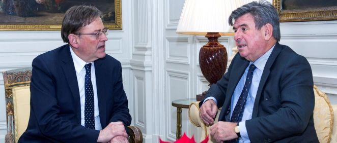 Ximo Puig, presidente de la Generalitat Valenciana, junto a Carlos Bastarreche, embajador de España en Reino Unido.
