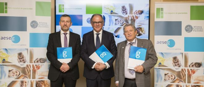 (De izq. a der.) El presidente del FEP, Andoni Lorenzo; el secretario general de Aeseg, Ángel Luis Rodríguez y el presidente de AGP, Juan Martínez.