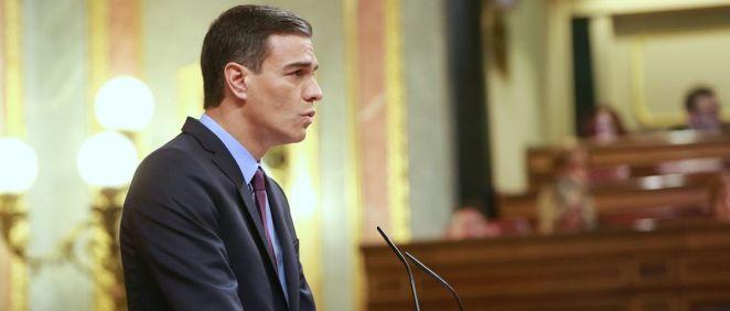 Pedro Sánchez, presidente del Gobierno, interviniendo este miércoles en el Congreso de los Diputados.