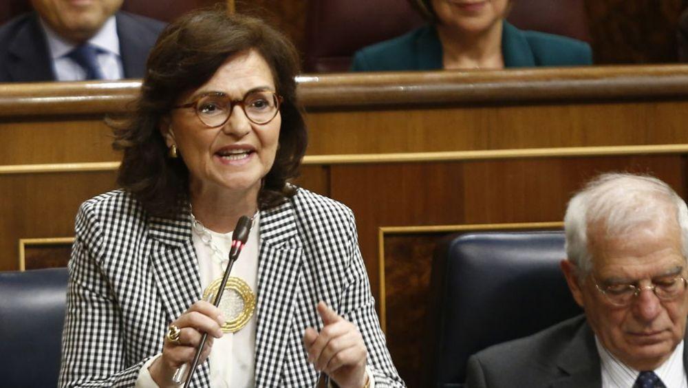 Carmen Calvo, vicepresidenta del Gobierno, interviniendo en el Congreso.