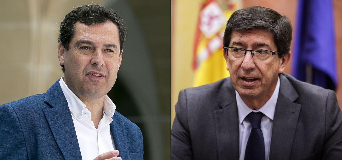 Juanma Moreno (PP) y Juan Marín (Ciudadanos), firman un acuerdo de Gobierno en Andalucía.