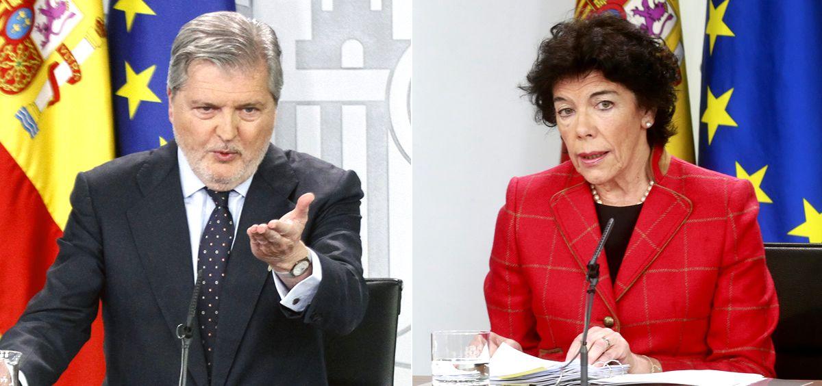 Íñigo Méndez de Vigo e Isabel Celáa, portavoces del Gobierno con Mariano Rajoy y Pedro Sánchez.