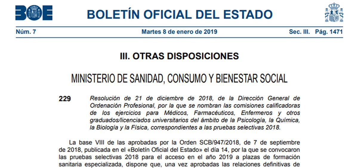 El Boletín Oficial del Estado (BOE) recoge la distribución de las Comisiones Calificadoras para los exámenes de formación sanitaria especializada.