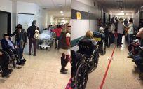 Pacientes el pasado 2 de enero esperando a ser atendidos en los pasillos del CHUS.