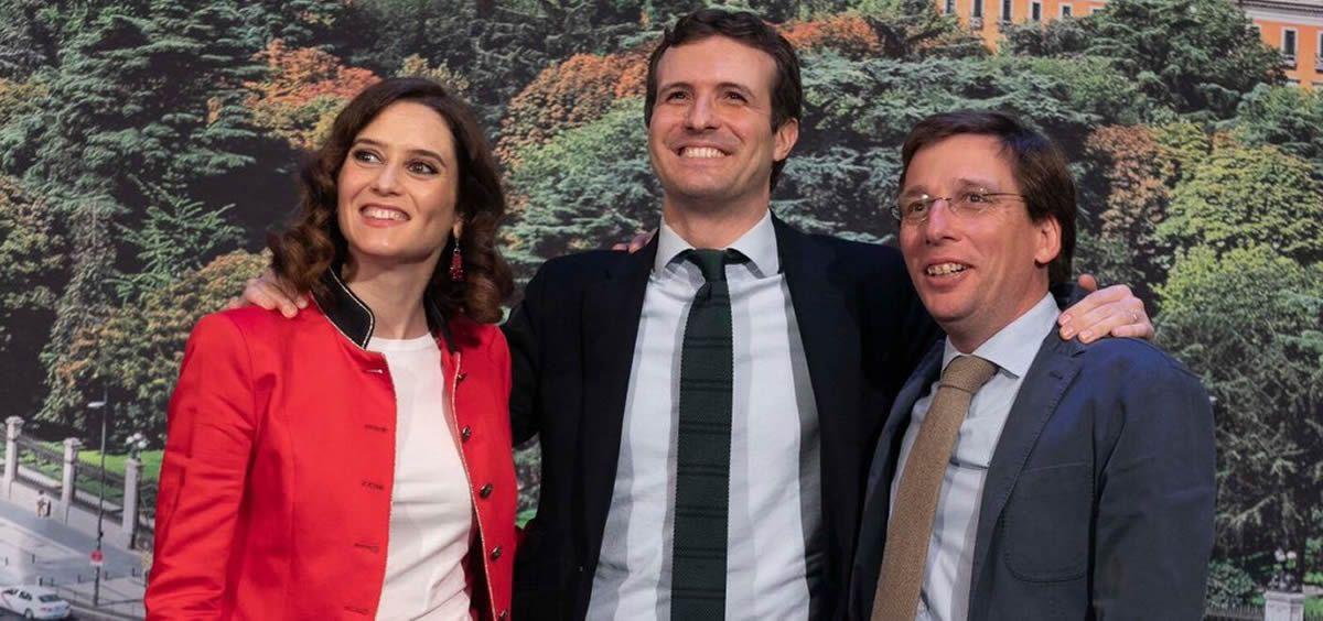 Momento en el que Pablo Casado anunció que Isabel Díaz Ayuso será la candidata del PP en la Comunidad de Madrid y José Luis Martínez-Almeida al Ayuntamiento de Madrid