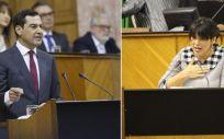 Juan Manuel Moreno y Teresa Rodríguez, durante el debate de investidura.