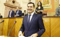 Juan Manuel Moreno, durante su intervención en el debate de investidura que le ha llevado a la presidencia de la Junta de Andalucía