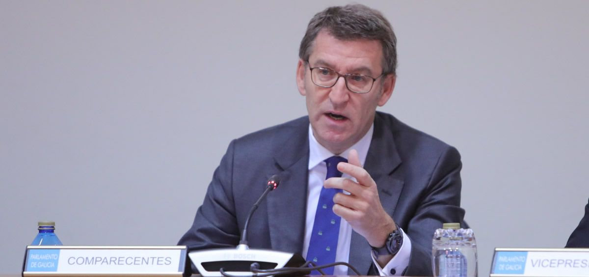 Alberto Núñez Feijóo durante la comisión de sanidad celebrada esta mañana en la que ha propuesto la creación de un MIR extraordinario