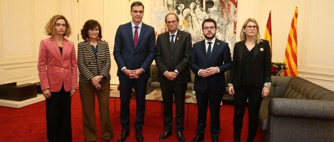 Imagen de la reunión entre Sánchez y Torra el pasado 20 de diciembre en Pedralbes (Moncloa)