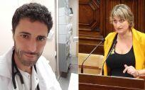 El doctor Antonio Matías de la Guardia, representante de Simecat, y Alba Vergés, consejera de Salud de la Generalitat de Cataluña