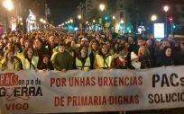 Instantánea de la manifestación por la sanidad pública celebrada en Vigo.