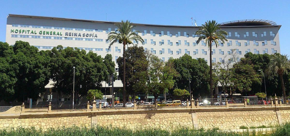 Fachada principal del Hospital General Universitario Reina Sofía de Murcia (Foto. Gobierno de Murcia)