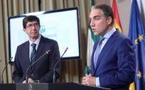 Elias Bendodo (d), consejero de Presidencia y nuevo portavoz del Gobierno andaluz, y Juan Marín (i), vicepresidente.