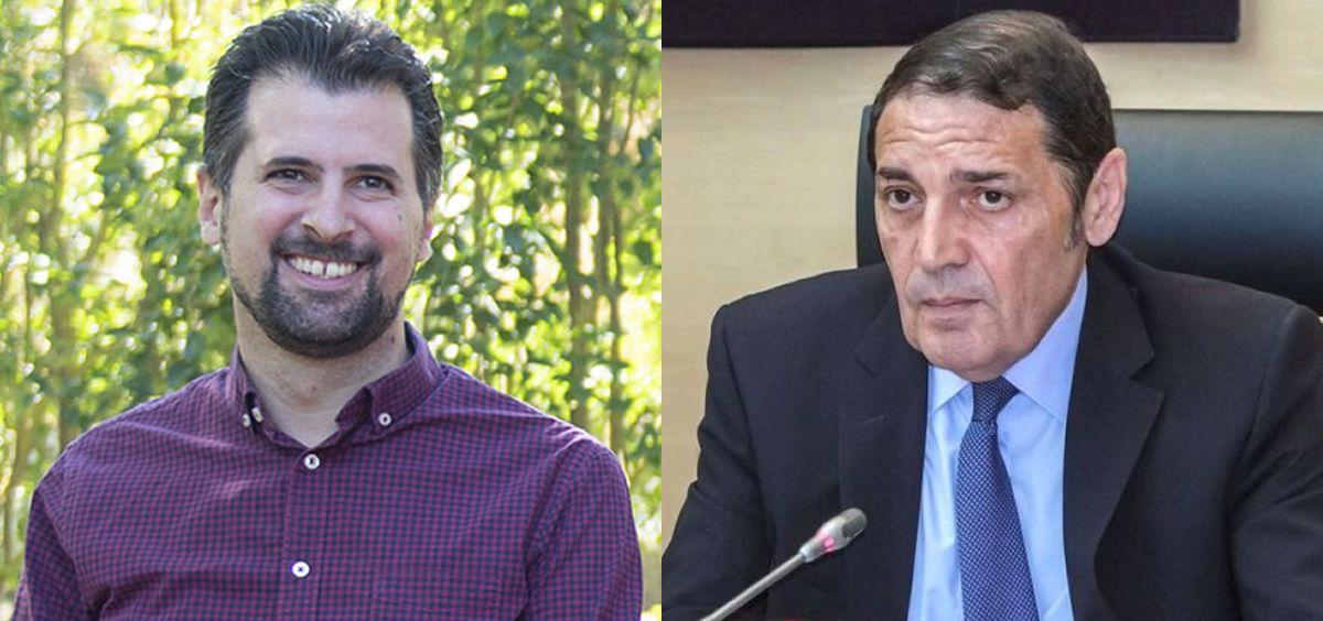 Luis Tudanca, diputado socialista en Castilla y León, y Antonio María Sáez Aguado, consejero de Sanidad