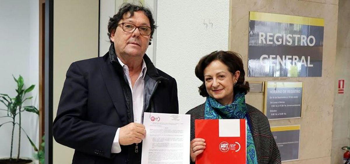 Julio Lacuerda, secretario general de la FeSP UGT, junto a Gracia Alvarez, secretaria del sector salud, sociosanitario y dependencia.