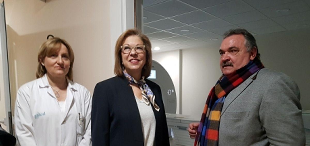 La consejera de Aragón, Pilar Ventura (en el centro), en su pasada visita al Hospital Obispo Polanco de Teruel