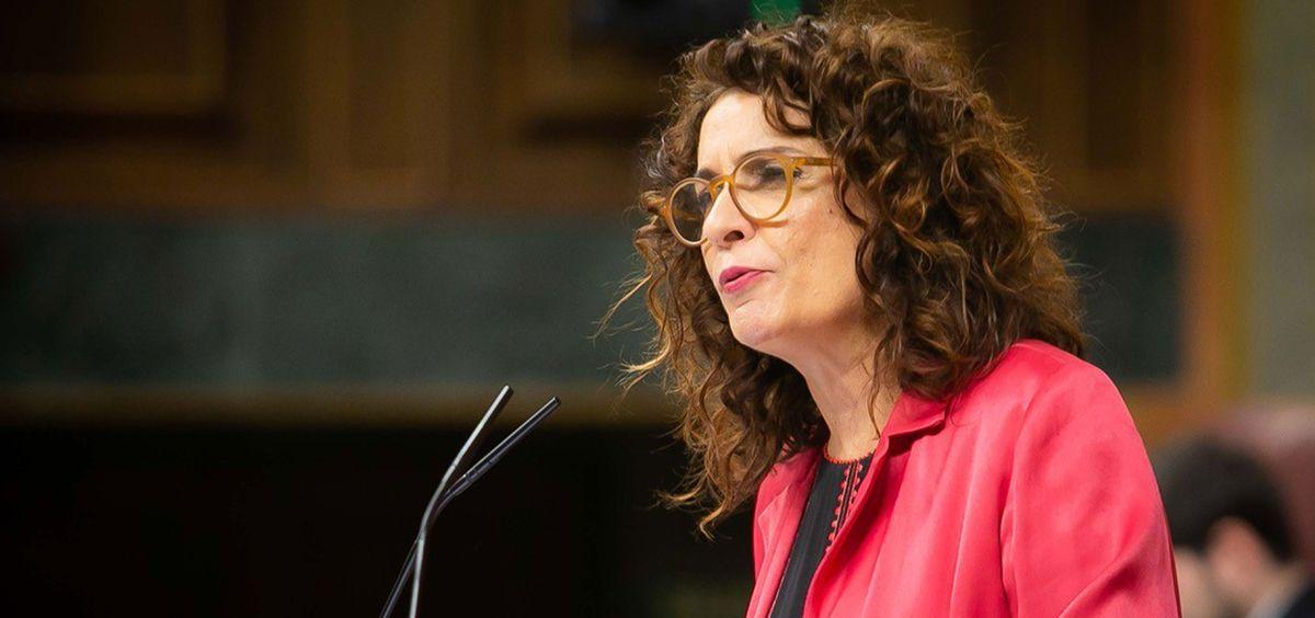María Jesús Montero, ministra de Hacienda, interviniendo en el Congreso de los Diputados.