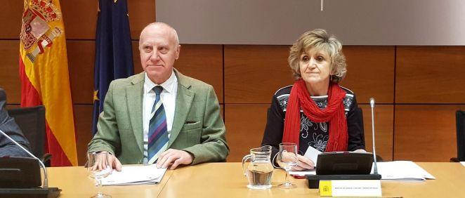 María Luisa Carcedo, ministra de Sanidad, junto a Faustino Blanco, secretario general de Sanidad.