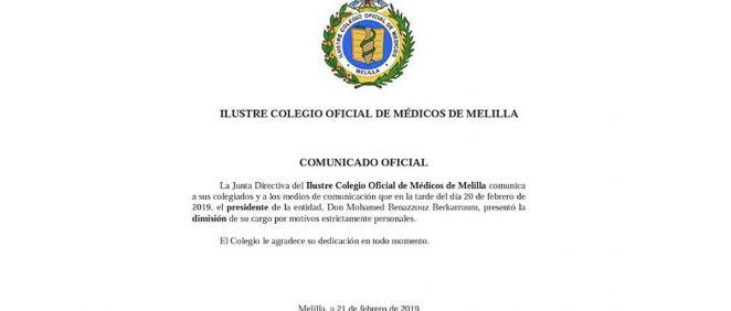 Imagen del comunicado del Colegio de Médicos de Melilla.