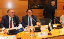 El consejero de Sanidad de Extremadura, José María Vergeles junto a su homólogo canario, José Manuel Baltar, en el Consejo Interterritorial del Sistema Nacional de Salud (CISNS).