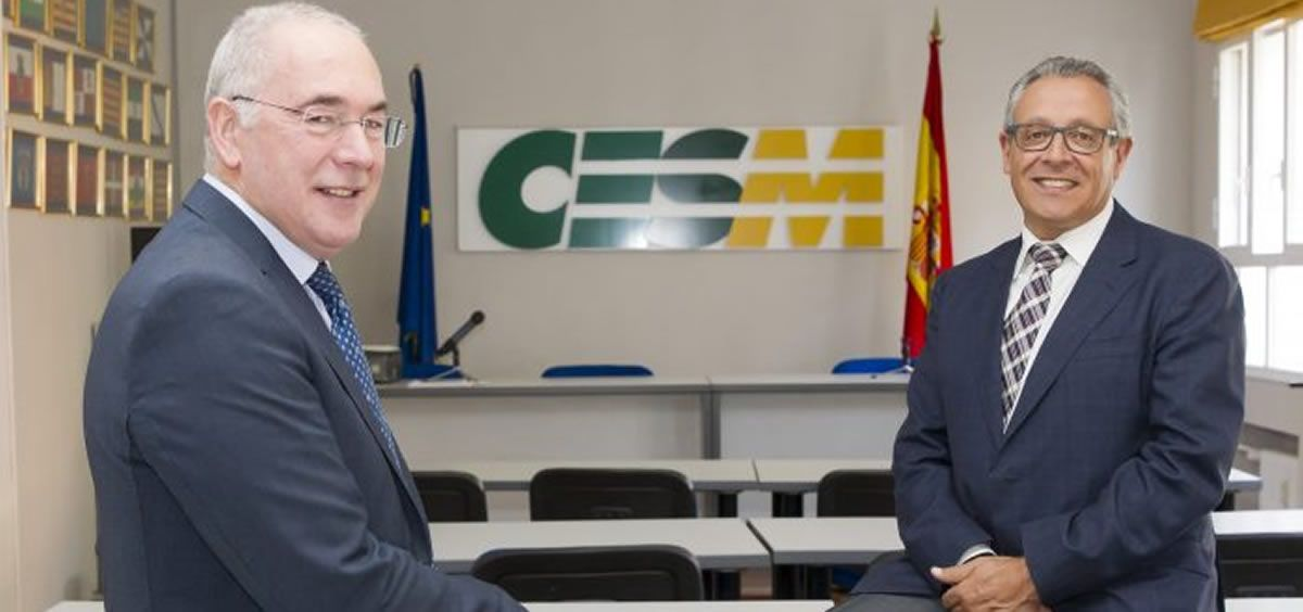 El secretario general de CESM, Francisco Miralles y el presidente de la organización sindical, Tomás Toranzo.
