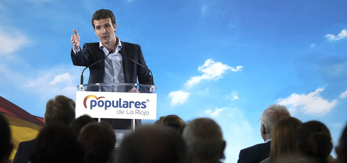 Pablo Casado, presidente del Partido Popular, durante un mitin en La Rioja.