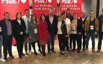María Luisa Carcedo, ministra de Sanidad, junto a Adriana Lastra, portavoz del PSOE en el Congreso, y Adrián Barbón, secretario general del PSOE asturiano.