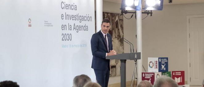 El presidente del Gobierno de España, Pedro Sánchez, durante su intervención este lunes | Foto: La Moncloa