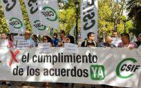 Una de las concentraciones de la Central Sindical Independiente y de Funcionarios (CSIF)