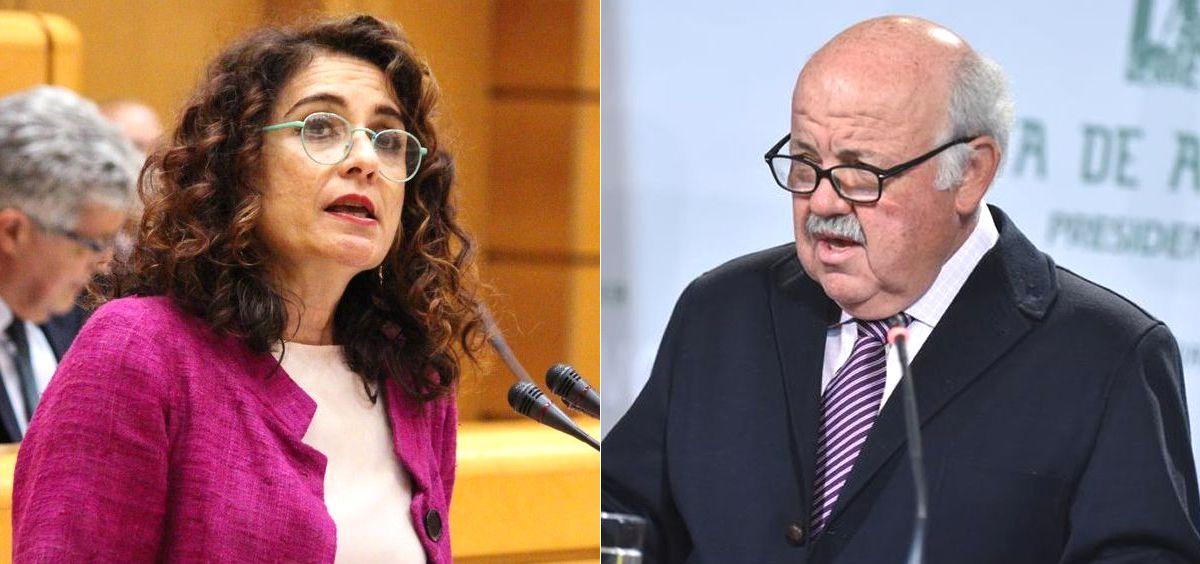 La ministra de Hacienda, María Jesús Montero, y el consejero de Salud de Andalucía, Jesús Aguirre.