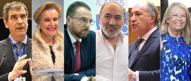 De izq. a der.: Antonio Román, Carmen Quintanilla, Bienvenido de Arriba, José Manuel Aranda, Juan Ignacio Landaluce y Ángeles Muñoz.
