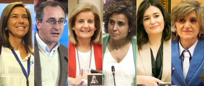 De izq. a der.: Ana Mato, Alfonso Alonso, Fátima Báñez, Dolors Montserrat, Carmen Montón y María Luisa Carcedo.