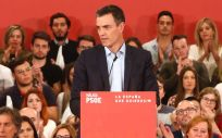 Pedro Sánchez, presidente del Gobierno y secretario general del PSOE, durante un mitin en Málaga.
