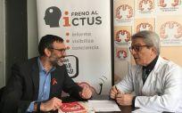 Julio Agredano, presidente de Freno al Ictus y Exuperio Díez, presidente de la Sociedad Española de Neurología