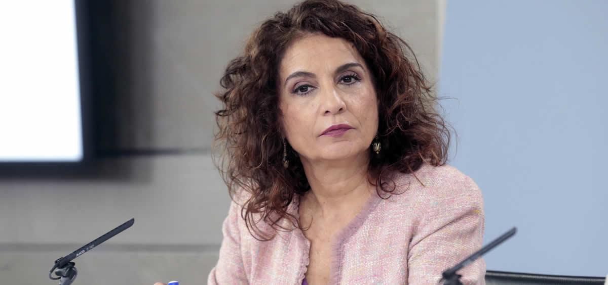 La ministra de Hacienda, María Jesús Montero, durante la rueda de prensa posterior al Consejo de Ministros (Foto: Pool Moncloa/JM Cuadrado)
