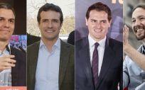 Los líderes de PSOE, PP, Ciudadanos y Podemos: Pedro Sánchez, Pablo Casado, Albert Rivera y Pablo Iglesias.