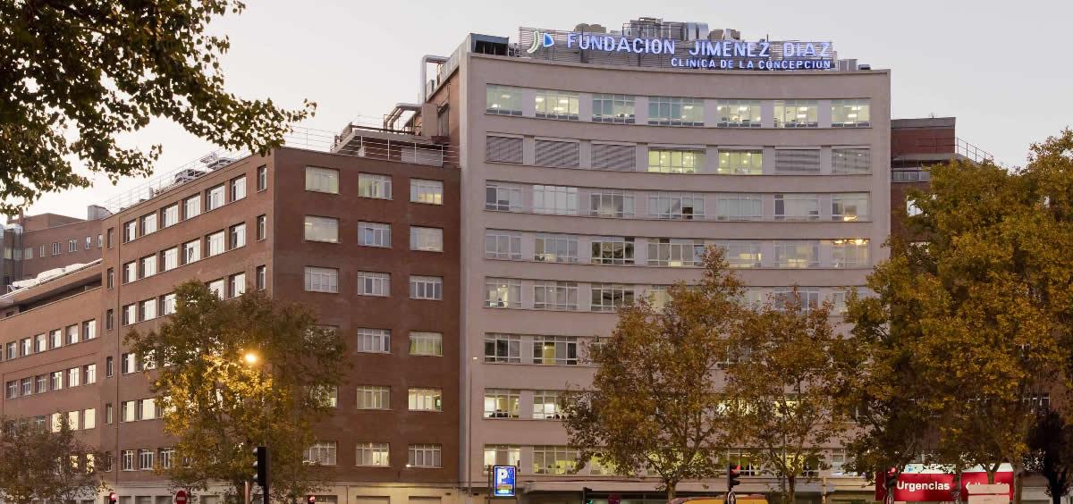 Fachada del Hospital Universitario Fundación Jiménez Díaz, integrado en la red pública de la Comunidad de Madrid