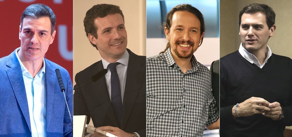 Pedro Sánchez, Pablo Casado, Pablo Iglesias y Albert Rivera.