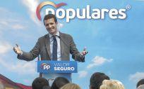 Pablo Casado, presidente del Partido Popular, en un acto de precampaña electoral.
