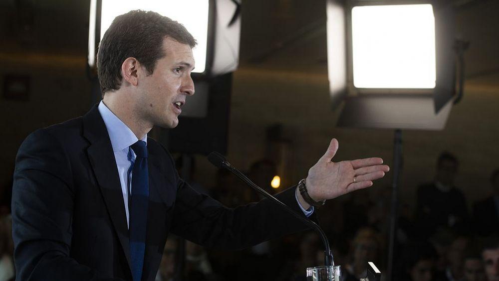 Pablo Casado, presidente del PP, en un reciente acto de partido.