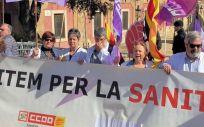 Imagen de una protesta sanitaria convocada por CC.OO., UGT y Satse.