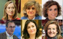 De izquierda a derecha, de arriba abajo: Ana Pastor, María Luisa Carcedo, Dolors Montserrat, Bernat Soria, Alfonso Alonso, Carmen Montón, Fátima Báñez y Leire Pajín, ministros de Sanidad en España