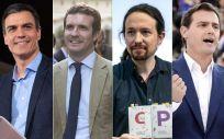 Pedro Sánchez (PSOE), Pablo Casado (PP), Pablo Iglesias (Unidas Podemos), Albert Rivera (Ciudadanos) y Santiago Abascal (Vox). (Fotomontaje ConSalud).